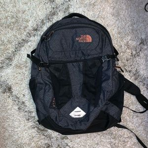 North Face Black with Pink Recon Backpack
